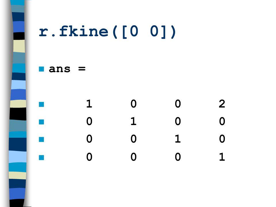 r.fkine([0 0]) ans = 1 0 0 2. 0 1 0 0.